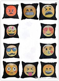 Wholesale Funny Pillow Cases - 40*40cm Bedding Outlet Emoji Cushion Cover Reversible DIY Sequin Mermaid Pillow Case Funny Changing Smiley Faces Decorative Pillowcase