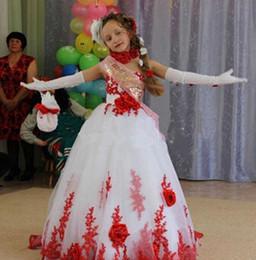 Wholesale Children Strapless Flower Gown - Elegant flower girl dresses for weddings Appliques lace graduation gowns children first communion dresses for girls custom size