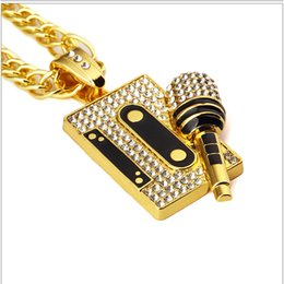 Wholesale rhinestone microphone - high quality Full of crystal hiphop Tape Microphone pendant necklace for man and women night club NE826