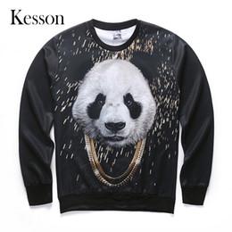 Wholesale Crossfit Hoodie - Wholesale- 3D Animal Panda Printed Sweatshirt Men Women Polyester Long Sleeve O-Neck Hoodies 2016 Autumn Casual Sweatshirts Crossfit 5 Size