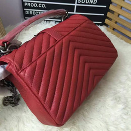 Wholesale 24 Compartment - lady women genuine leather personality bags Famous Designers Brand letter V style family Chain handbag crossbody bag SLP201688 SIZE 24*17*7