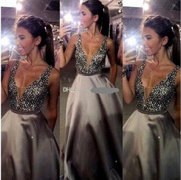 Wholesale Satin Silk Necklace - 2017 New Sexy V-Neck Prom Dresses A-Line Beads Backless Zipper Evening Dresses Real Pic Custom Made Guest Dresses With Free Necklace