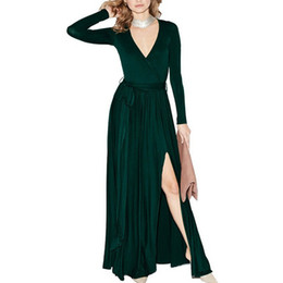 3ae848a95a Fashion Classic Long Dresses Woman Spring Sexy Side Thigh Split Full Seeve  Plunge Tie Belt Floor Length Dress Robe Longue Femme