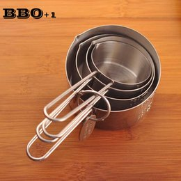 Wholesale Tea Cups For Baking - Hot 4pcs Stainless Steel Measuring Cup Baking Measure Spoon 4 size Measuring Spoons Cups for Coffee Tea Milk Seasoning Spoon set