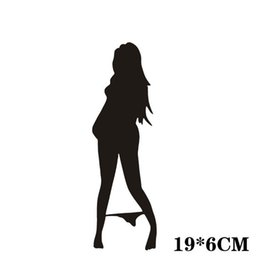 Wholesale Wall Stickers Women - Automobile Motorcycle Funny Beautiful Sexy Woman In Bikini Decorative Wall Stickers personalized decals Cartoon Car Sticker