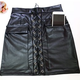 Wholesale Gothic Laces Catsuit - High Quality Women Sexy Black PU Leather Bodysuit High Waist Lace-Up Gothic Style Skirts Lady Nightclub Party Slim Hip Catsuit