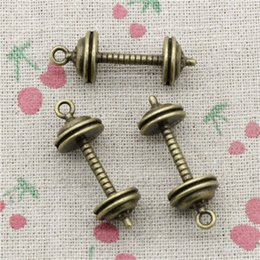 Wholesale Fitness Sliders - 20pcs Charms fitness equipment dumbbell 34*12*12mm Antique Bronze Pendant Zinc Alloy Jewelry DIY Hand Made Bracelet Necklace Fitting