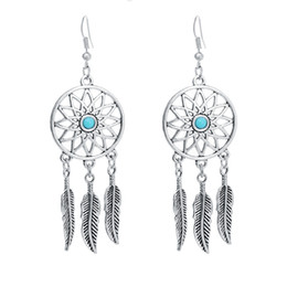 Wholesale Wholesale Dangle Charms Free Shipping - New Silver Dreamcatcher Dream Catcher Feather Earrings Charms Dangle Long Vintage Drop Earrings For Women DIY free shipping