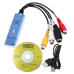 Wholesale Rca Blue - New Portable USB 2.0 Easycap Video Audio Capture Card Adapter VHS DC60 DVD Converter Composite RCA Blue Wholesale