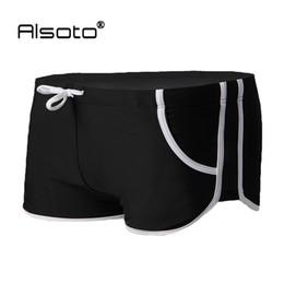 Wholesale Shorts For Swim - Summer Style Sexy Swimsuit for Man Low Waist Men's Swim Trunks Pocket Swimming Boxer Shorts Gay Pouch sungas de praia homens