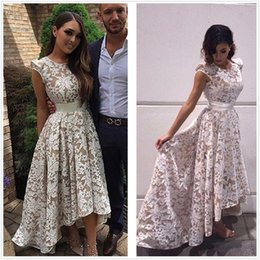 Wholesale High Low Ruffle Prom Dresses - 2017 New Elegant Sheer Cap Sleeves High low Lace Evening Dresses A Line Backless Formal Party Prom Dresses