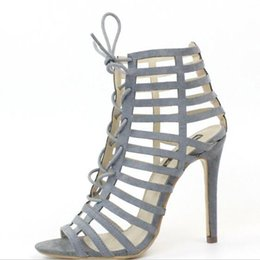 Wholesale Sandals Shallow - New Arrivals 2017 Fashion Shallow Thin High Heels Peep Toe 11CM High Heels Gladiator Pumps Shoes women Hollow out Summer sandals