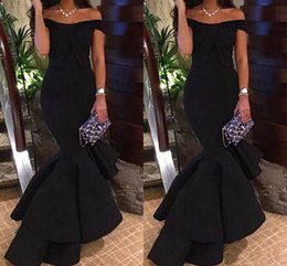 Wholesale Design Club Dress - New Design Black Off Shoulder Mermaid Prom Dresses 2017 Simple Cheap Sleeveless Elastic Satin Formal Dresses Evening Party Gown Custom