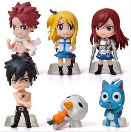 6 Unids / set Anime Fairy Tail Natsu / Gris / Lucy / Erza Figura de Acción de Juguete Modelo de PVC Muñecas Gran Regalo desde fabricantes