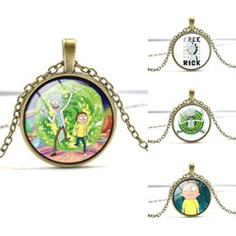 Wholesale Mixed Order Necklace - Good A++ Rick and morty series gem necklace gift WFN348 (with chain) mix order 20 pieces a lot