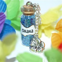 Wholesale Silver Family Necklace - 12pcs Lilo and Stitch OHANA Family Magic Necklace with a Flower Charm necklace in silver tone