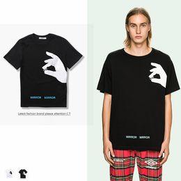 Wholesale Tshirt Printing China - Brand Clothing T Shirt Men Off White China Spring Summer Classic Letter Basic Stripe Print Cotton Fingers Printed T-shirt Tee Men Tshirt