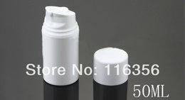 Wholesale Lotion Pump Bottles Wholesale - Wholesale- 50ML whole white plastic airless lotion bottle with airless pump used for Cosmetic Packaging