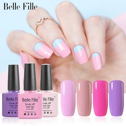 Wholesale Pink Clear Acrylic Nails - Wholesale- BELLE FELLE 10ml 3D Shining Hard LED UV Nail Gel Polish Clear Color Easy DIY acrylic Nail Art Bling manicure fingernail polish