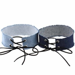 Wholesale blue lace choker necklace - Bohemia Style Four Color Choice Width Chunky Blue Jeans Choker Necklace Women Gothic Lace Up Denim Collar Choker Jewelry 2017 Wholesale