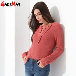 Wholesale Sweater Red Women Sexy - Women Pullover Sweater Slim Long Sleeve Knitted Blouse Chandail Femme Sexy Tops Ladies Crocheted Knitwear Clothing Women GAREMAY