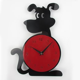 Wholesale Mechanical Wall Clocks - Wholesale-3D Wall Clock Dog Shape Fashion Home Decor Acrylic Wall Clock Horloge Murale