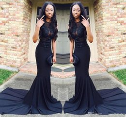 Wholesale See Court Train - Sexy African Black Mermaid Prom Dresses 2017 Court Train Satin See Through Long Evening Gowns Graduation Party Dress