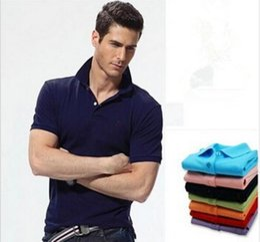 Wholesale Mens Wholesale Polo Shirts - Big Size S-6XL Polo Shirt Men Small Horse Camisa Solid Short Sleeve Summer Casual Camisas Polo Mens Free Shipping