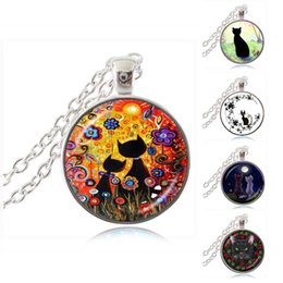 Wholesale Gemstone Jewellery Pendants - Black Cat in the Sea of Flowers Photo Necklace Sun Pendant Animal Jewelry Glass Dome Time Gemstone Sweater Necklace Handmade Jewellery
