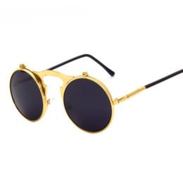 Gafas de sol gafas de sol online-Mejores gafas de sol Flip Up Hombres Mujeres Steam Punk Glasses Ronda Steampunk Gafas de sol Circle Glasses Espectaculos de la vendimia