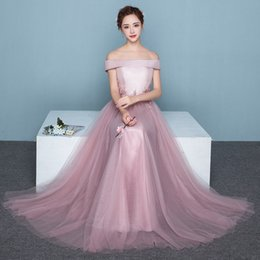 a7de172467a Cheap Long Prom Dresses A Line Sexy Off Shoulder Tulle Lace Up Red Black  Party Bridesmaid Dresses Evening Gowns