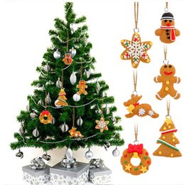 Wholesale Polymer Clay Making - 6pcs lot Cartoon Animal Snowflake Biscuits Hanging Christmas Tree Ornament Hand Made Polymer Clay Christmas Decoration ZA1542