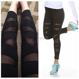 Wholesale Womens Knitted Leggings - Fashion Womens Mesh Panels Stretchy Workout Sports Gym Yoga Leggings Ninth Pants