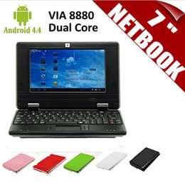 Wholesale Android Laptop 1gb - New 7 inch Netbook Mini PC Laptop VIA8880 Dual Core Android 4.4.2 Wifi 1G RAM 8G HDD HDMI 10pcs Free DHL