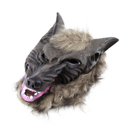Wholesale Cheap Latex Masks - Wholesale- Classic Latex Animal Wolf Head With Hair Mask Fancy Dress Costume Party Scary Halloween Cheap And New