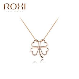 Wholesale Long Clover Necklaces Wholesale - ROXI TOP Quality Fashionabl 18k Rose Gold Clover women necklace plated Charm Chain Long Women Pendant Necklace