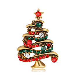 Wholesale Antique Rhinestone Brooches - New Arrival Christmas Jewelry Multicolor Crystal Christmas Tree Brooches Antique Gold Alloy Brooch Corsage Pins XMAS Gifts In Stock