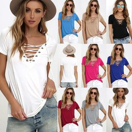 Wholesale Basic White Top - Sexy Ladies V-Neck Lace Up Jumper Tops Womens V-Neckline Blouse T-Shirt Short Sleeve Pullover Casual Shirt Basic Tee