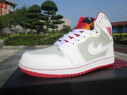 Wholesale I Shoes Boots - Air retro 1 Mid Hare basketball shoes for men women I 1s outdoor trainers white grey red sneakers new design free shipping US 5.5-13