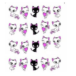 Wholesale Cute Nail Water Stickers - Wholesale- 1sheet!!! NEW Lovely Cute Shy Cat Nail Art Stickers Nail Art Water Transfer Wraps Decals Women Decorations