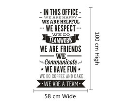 """Wholesale Office Wall Decal - In This Office Quote Sticker Office Rules Vinyl Decals """" We Are A Team"""" Increase Team Cohesion 3D Decal Office Home Decor"""