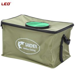 Wholesale Fish Containers - Wholesale- LEO Folding Live Fish Box Canvas Water Box Bag Container Bucket Water Tank Professional Water Box Fishing Tackle Accessories