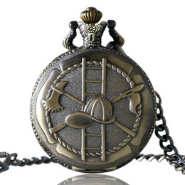Wholesale Bronze Keys - Bronze   Silver Firefighter Hat Quartz Pocket Watch with Key Chain Relogio De Bolso Xmas Gifts