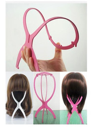 Wholesale Wholesale Hat Stand - 2017 newest Folding Plastic Wig Stand Stable Durable Hair Support Display Wigs Hat Cap Holder hair extension tools