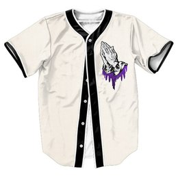 Wholesale Wholesale S Baseball Jersey - Wholesale- cool tee Pray for Lean Jersey PUNK Men's shirts Streetwear baseball shirt funny tops with Single Breasted summer style