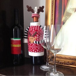 Wholesale Home Decor Suppliers Wholesale - Wholesale-Red Wine Bottle Cover Bags Christmas Dinner Table Decoration Home Party Decors Santa Claus Christmas Supplier Elk Gift