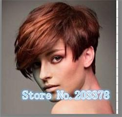 Wholesale Wholesale Sexy Wigs - Synthetic Hair New arrival Sexy Pixie Cut Synthetic Short Straight hair Auburn mix Natural wigs for women 10pcs lot free shipping
