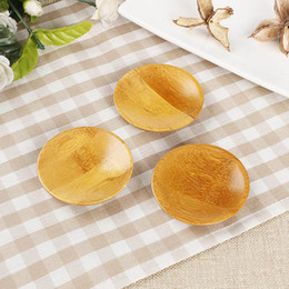 Wholesale Wooden Trays Wholesale - Creativity natural bamboo small round dishes Rural amorous feelings wooden sauce and vinegar plates Tableware plates tray