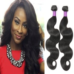 Wholesale Real Hair Extensions 24 Inches - 8A Brazilian Hair Body Wave 3 Bundles Real Unprocessed Brazilian Human Hair Extension African American Hair Weaves
