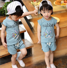 Wholesale Bunny Tee - Summer Baby Boys Outfits New Cartoon Kids Casual Clothing Sets Bunny Short Sleeve Tee Shirt + Shorts 2pcs Suit C1902
